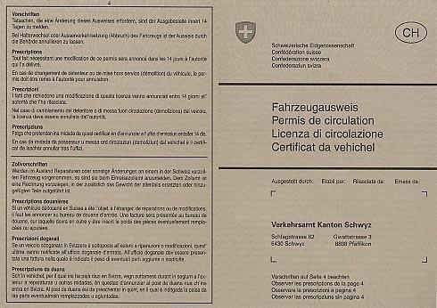 Schweizer Fahrzeugausweis