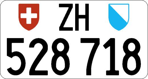 Schweizer Kontrollschild Hinten